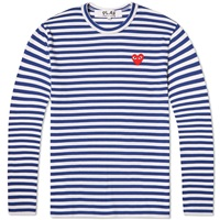 Comme Des Garcons Play Long Sleeve Stripe Logo Tee Blue And White