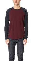 Vince Classic Baseball Pullover Oxblood Coastal
