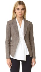 Veronica Beard Zinnia Handkerchief Hem Blazer Brown Multi