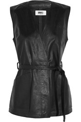 Maison Martin Margiela Belted Wrap Effect Leather Vest