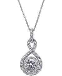 No Vendor White Sapphire Infinity Pendant Necklace In 14K White Gold 2 3 Ct. T.W.