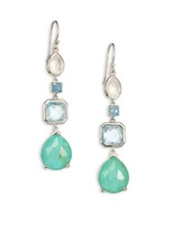 Ippolita Rock Candy Rutilated Turquoise Aquamarine Blue Topaz Clear Quartz And Sterling Silver Drop Earr Silver Aqua