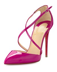 Christian Louboutin Cross Blake 100Mm Patent Red Sole Pump Indian Rose Women's