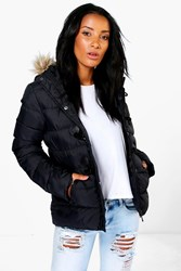 Boohoo Short Quilted Bubble Jacket Black