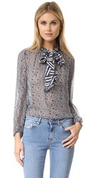 Diane Von Furstenberg Fernanda Blouse Ribbon Rectangle Mini Midnight