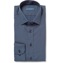 Etro Slim Fit Cotton Poplin Shirt Blue