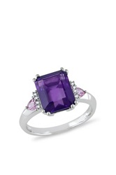 10K White Gold Amethyst Pink Sapphire And Diamond Ring Purple