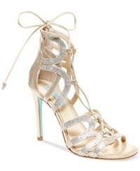 Blue By Betsey Johnson Celia Lace Up Evening Sandals Women's Shoes Gold