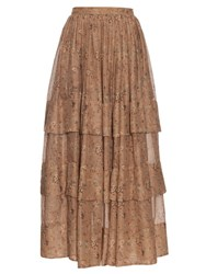 Etro Floral Print Tiered Skirt Beige Multi