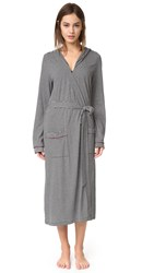 Cosabella Bella Stripe Hoodie Robe Black Deep Ruby