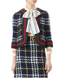 Gucci Cropped Wales Check Blazer Nectarine Nuit