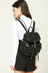Forever 21 Faux Leather Zip Backpack Black