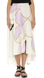 Cynthia Rowley Floral High Low Silk Skirt Cream Pink Combo