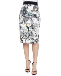 Milly Tropical Print Midi Skirt