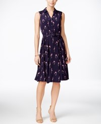 Charter Club Petite Flamingo Print Sleeveless Dress Only At Macy's Mild Pink