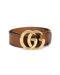 Gucci Vintage Leather Logo Belt Brown
