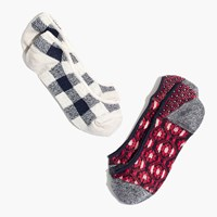 Madewell Two Pack Patchwork Pattern Low Profile Socks Red Navy Ivory