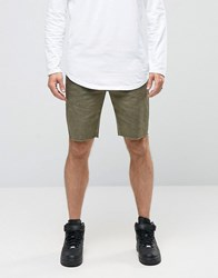 Asos Chino Shorts With Raw Edge And Oil Wash In Green Burnt Olive
