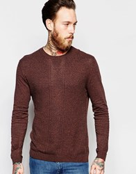 Asos Cable Knit Jumper In Brown Twist Cotton Tan And Navy Twist