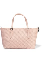 Bottega Veneta Shopper Medium Intrecciato Leather Tote Pastel Pink