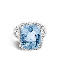 John Hardy Sterling Silver Batu Classic Chain Ring With Blue Topaz And Diamonds Blue White