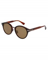 Gucci Round Acetate Sunglasses W Engraved Details Translucent Red
