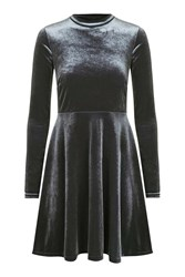 Topshop Velvet High Neck Skater Dress Silver Grey