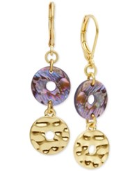 Lonna And Lilly Gold Tone Openwork Stone Double Drop Earrings