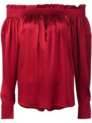 Alexandre Vauthier Off Shoulders Neck Slit Blouse Red