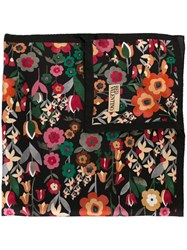 Red Valentino Floral Print Square Scarf Black
