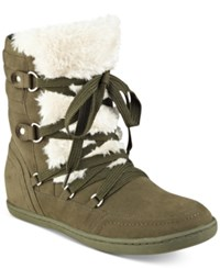 G By Guess Ryla Faux Fur Trim Booties Women's Shoes Army Green