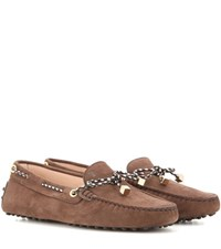 Tod's Heaven Laccetto Scooby Doo Suede Loafers Brown