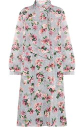 Topshop Unique Aubrey Draped Floral Print Silk Crepe De Chine Dress Pastel Pink