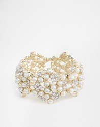 Oasis Pearl And Cluster Stretch Bracelet Cream