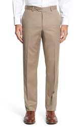 Nordstrom Men's Men's Shop Flat Front Wool Trousers Light Tan