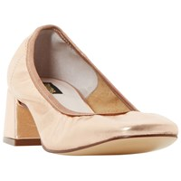 Dune Black Artie Block Heel Court Shoes Rose Gold Leather