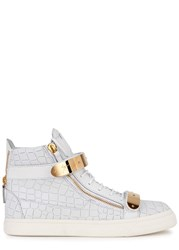 Giuseppe Zanotti Crocodile Effect Leather Hi Top Trainers White