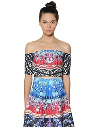 Clover Canyon Spanish Fan Printed Neoprene Top