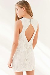 Silence And Noise Silence Noise Typewriter Embroidered Mini Dress White