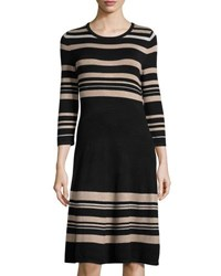 Carmen By Carmen Marc Valvo Striped Jersey Crewneck Dress Black White