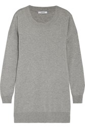 Max Mara Silk And Cashmere Blend Sweater Light Gray