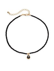 Cara Semi Precious Stone And Crystal Pendant Necklace Black Gold