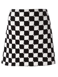 Courreges Checked Straight Skirt Black