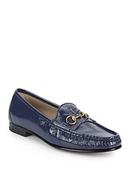 Gucci Patent Leather Horse Bit Loafers Azure