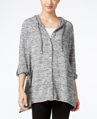 Styleandco. Style Co. Handkerchief Hem Button Front Hoodie Only At Macy's Deep Black