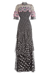 Peter Pilotto Embroidered Silk Maxi Dress With Lace Multicolor