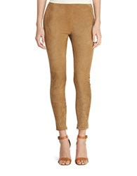 Lauren Ralph Lauren Leather Suede Skinny Pants Khaki