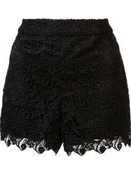 Alice Olivia Scalloped Hem Shorts Black