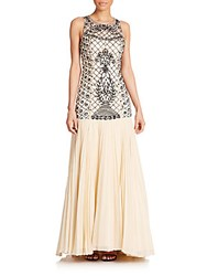 Sue Wong Beaded Drop Waist Gown Champagne