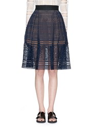 Self Portrait 'Sofia' Circle Lace Midi Skirt Blue